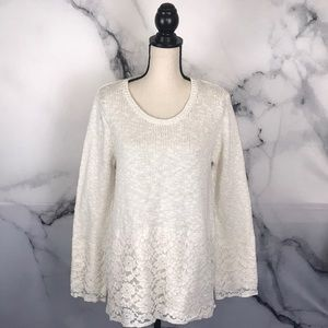 STYLE & CO cream lace & knit sweater
